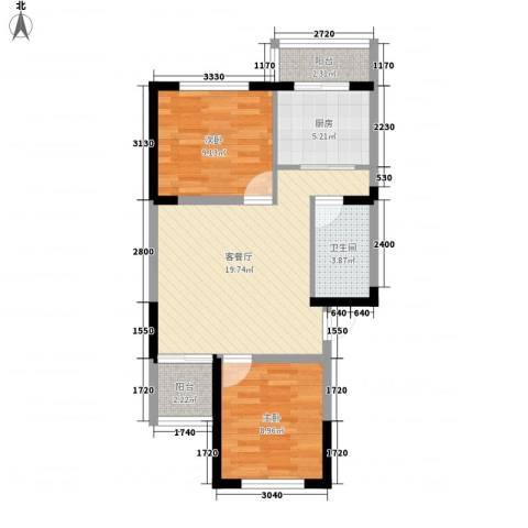 荷花盛世2室1厅1卫1厨75.00㎡户型图