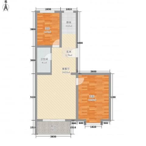 心海阳光2室1厅1卫0厨94.00㎡户型图