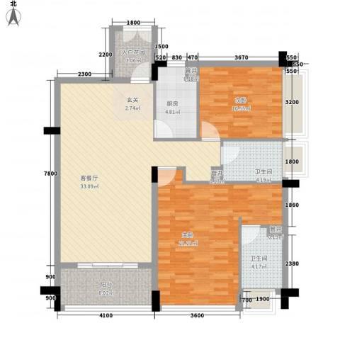 瀛寰花园2室1厅2卫1厨87.55㎡户型图