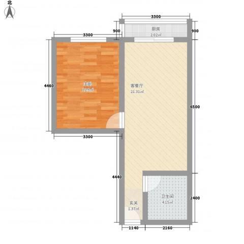 金色丽城1室1厅1卫1厨59.00㎡户型图
