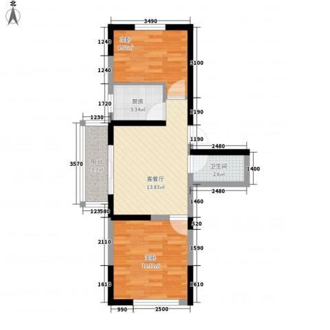 荷花盛世2室1厅1卫1厨63.00㎡户型图