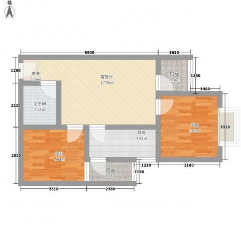 鑫缘佳地2室1厅1卫1厨69.00㎡户型图