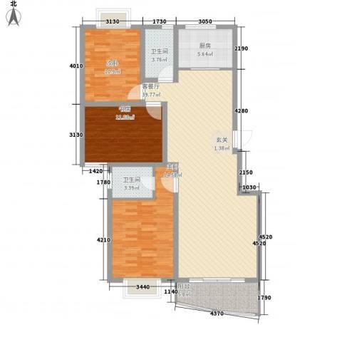 阳光柳岸3室1厅2卫1厨135.00㎡户型图