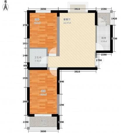荷花盛世2室1厅1卫1厨84.00㎡户型图