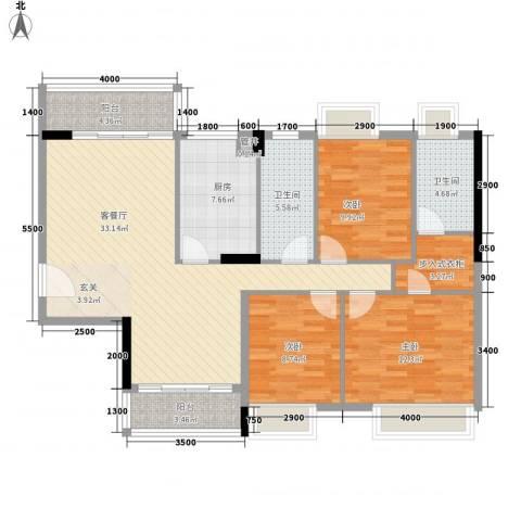 利丰城市花园3室1厅2卫1厨130.00㎡户型图