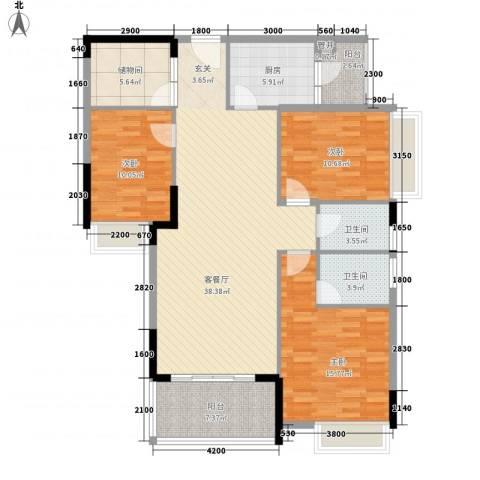 利丰城市花园3室1厅2卫1厨104.05㎡户型图