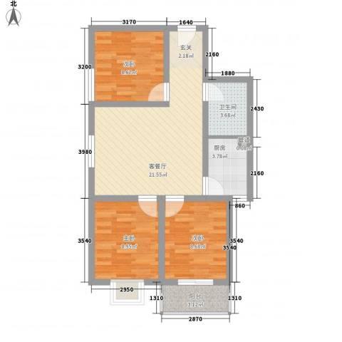 金色丽城3室1厅1卫1厨100.00㎡户型图
