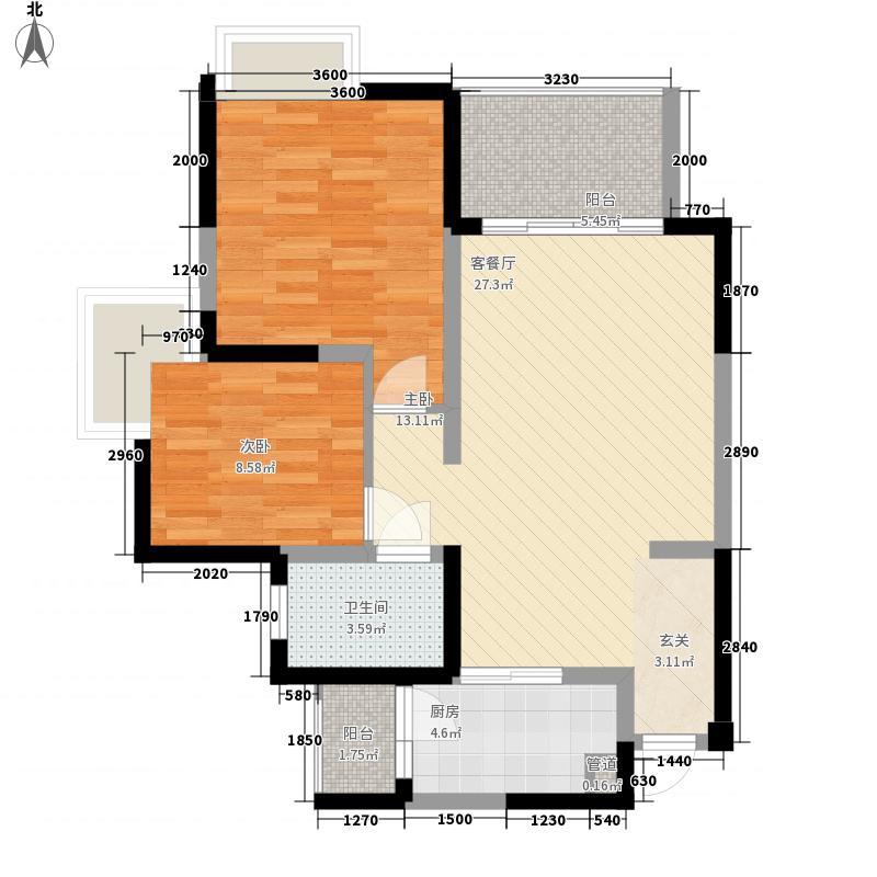 成都华侨城纯水岸89.00㎡1B/2B/3B型户型2室2厅1卫1厨