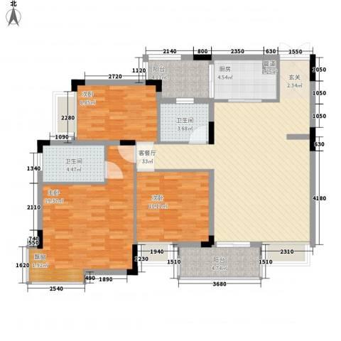 皓月花园3室1厅2卫1厨93.12㎡户型图