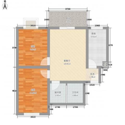 金色丽城2室1厅1卫1厨84.00㎡户型图