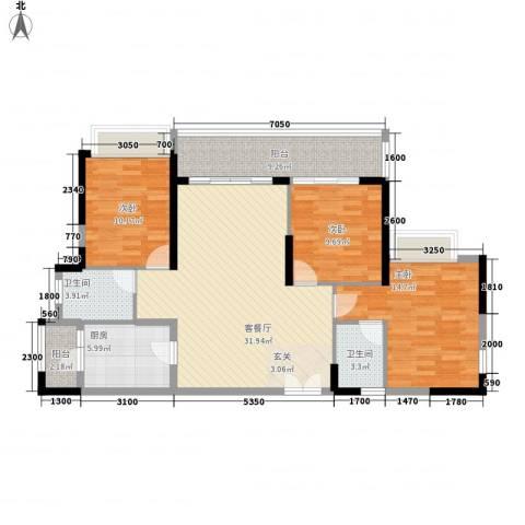 庄士8号3室1厅2卫1厨129.00㎡户型图