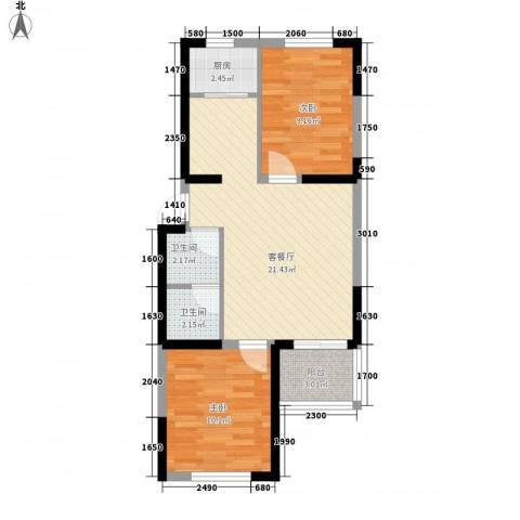 荷花盛世2室1厅2卫1厨73.00㎡户型图