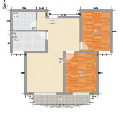 阳光柳岸2室1厅1卫1厨102.00㎡户型图