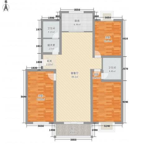 金色家园3室1厅2卫1厨141.00㎡户型图