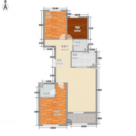 君豪・绿园3室1厅2卫1厨132.00㎡户型图