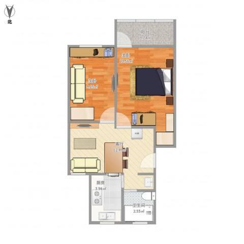 鹏海小区2室1厅1卫1厨61.00㎡户型图