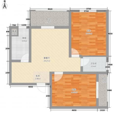 永新苑・西区2室1厅1卫1厨86.00㎡户型图