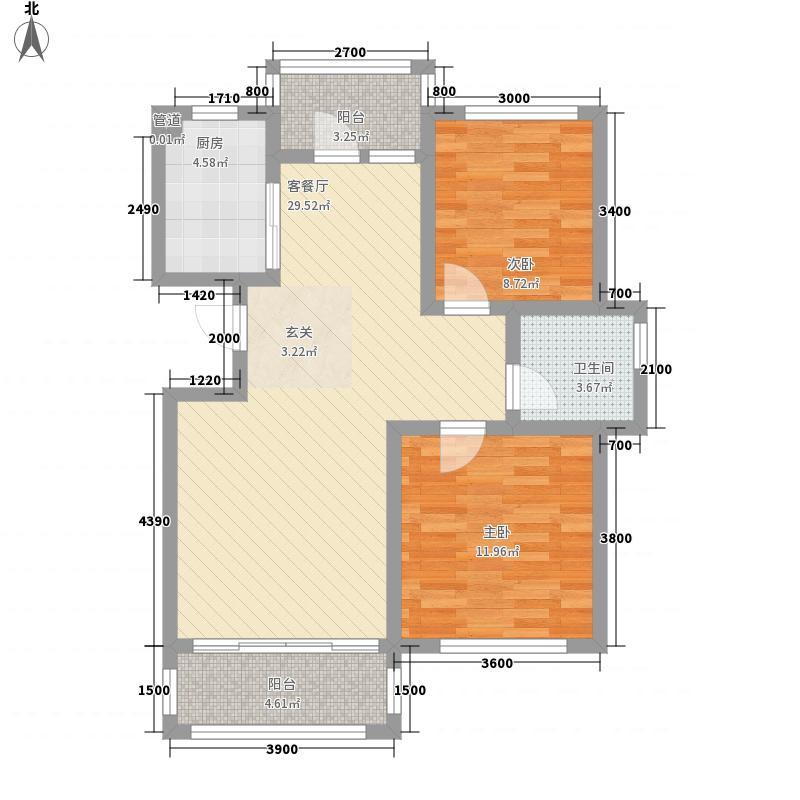 国秀家园5.14㎡GA2户型2室2厅1卫1厨