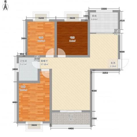 阳光柳岸3室1厅1卫1厨121.00㎡户型图