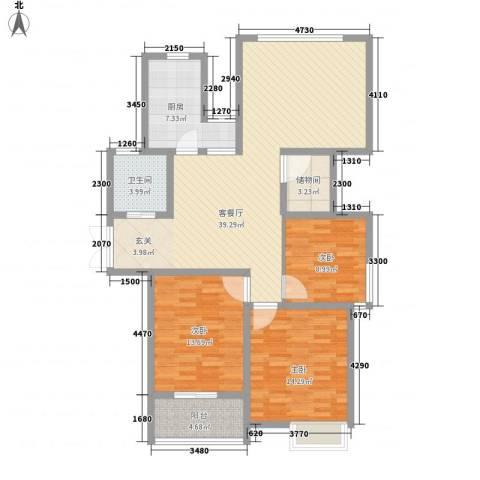 人民家园3室1厅1卫1厨140.00㎡户型图