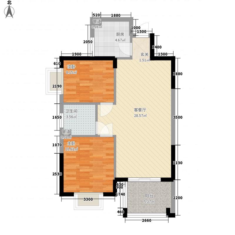 海南之心彼岸78.11㎡海南之心彼岸户型图8幢C-3户型2室2厅1卫1厨户型2室2厅1卫1厨