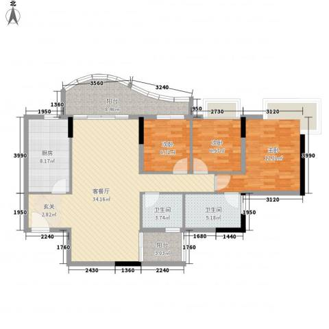 灵溪美居3室1厅2卫1厨127.00㎡户型图
