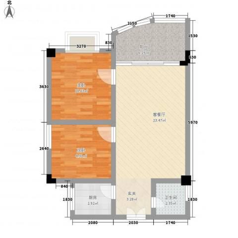 荣德苑2室1厅1卫1厨78.00㎡户型图