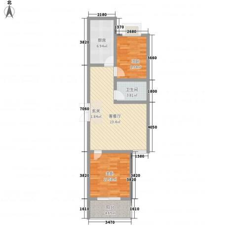 金色丽城2室1厅1卫1厨85.00㎡户型图