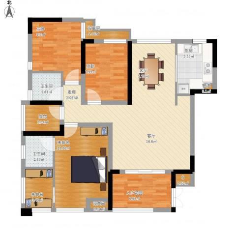 南方书苑湖畔2室1厅2卫1厨126.00㎡户型图