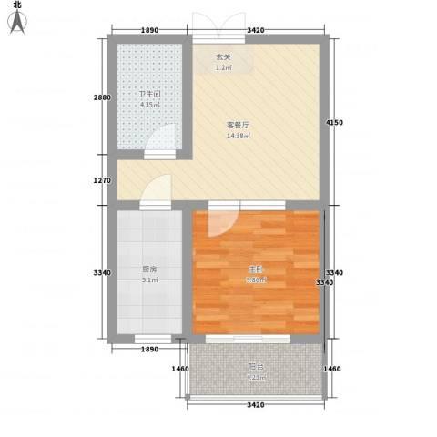 金色丽城1室1厅1卫1厨56.00㎡户型图