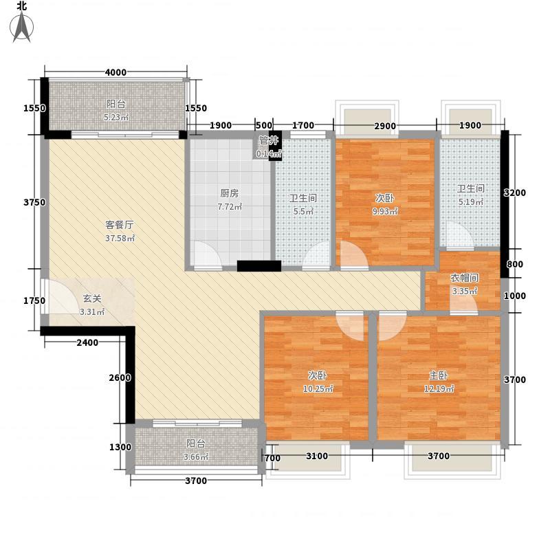 利丰城市花园13.40㎡缤纷假日8栋标准层04户型3室2厅2卫1厨