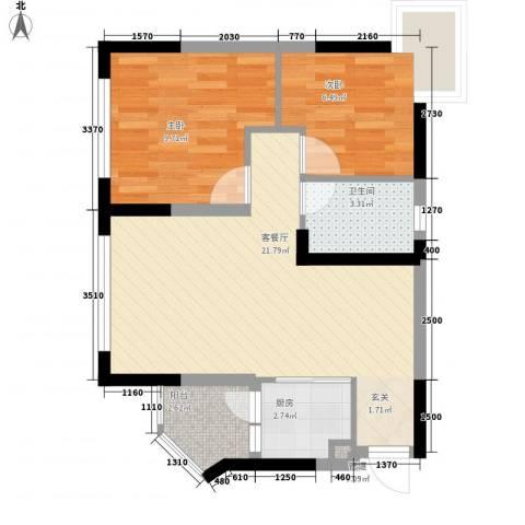 美的简岸花园2室1厅1卫1厨67.00㎡户型图