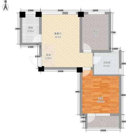 长城世纪华府1室1厅1卫1厨67.00㎡户型图