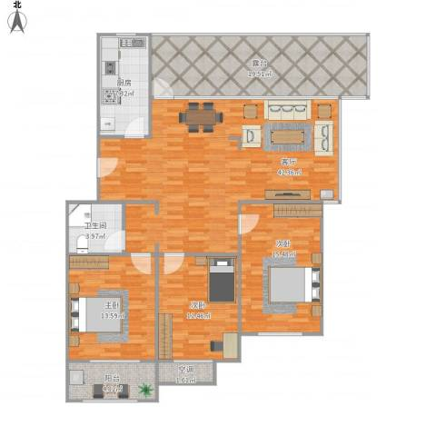 水韵名居3室1厅1卫1厨162.00㎡户型图