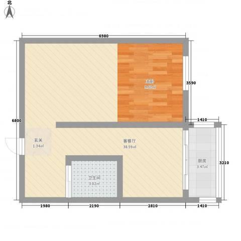 沈阳城市立方新居1厅1卫1厨65.00㎡户型图