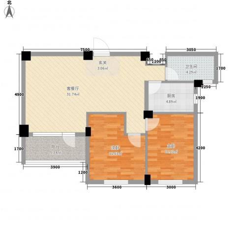长城世纪华府2室1厅1卫1厨90.00㎡户型图