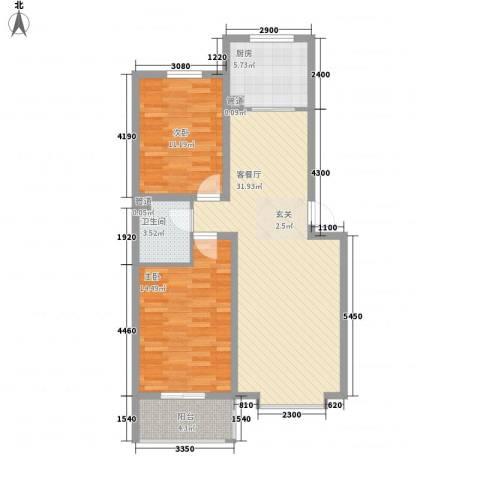 蓝岛书香苑2室1厅1卫1厨100.00㎡户型图