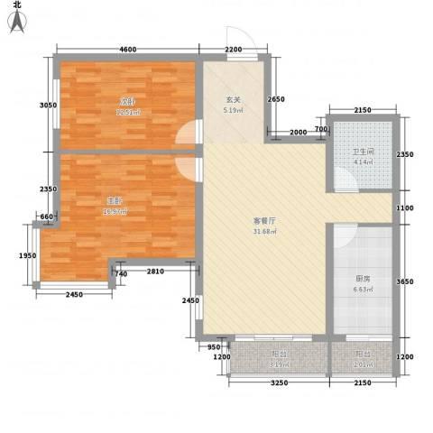 丽阳馨苑2室1厅1卫1厨107.00㎡户型图