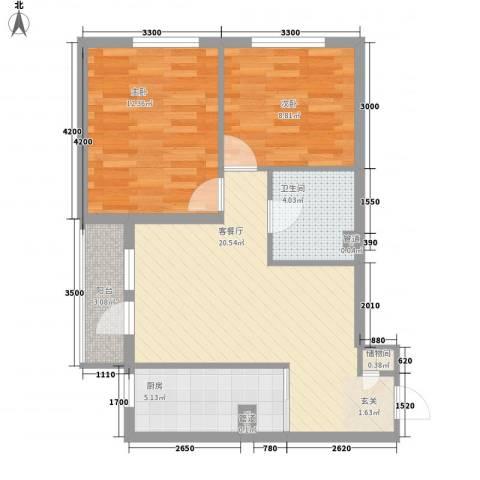 圣水源2室1厅1卫1厨78.00㎡户型图