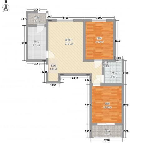 第一街区傲湖2室1厅1卫1厨90.00㎡户型图
