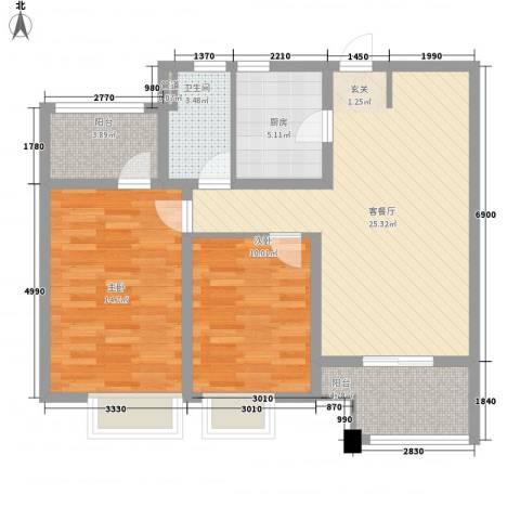 紫荆苑2室1厅1卫1厨98.00㎡户型图