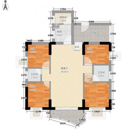 东泰花园荣华苑4室1厅2卫1厨75.00㎡户型图