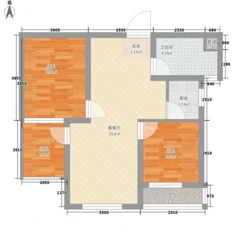 永新苑・西区3室1厅1卫1厨80.00㎡户型图