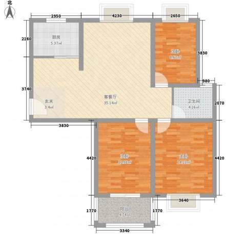 中瓯名城3室1厅1卫1厨121.00㎡户型图