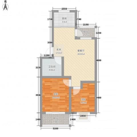 海港城2室1厅1卫1厨77.00㎡户型图