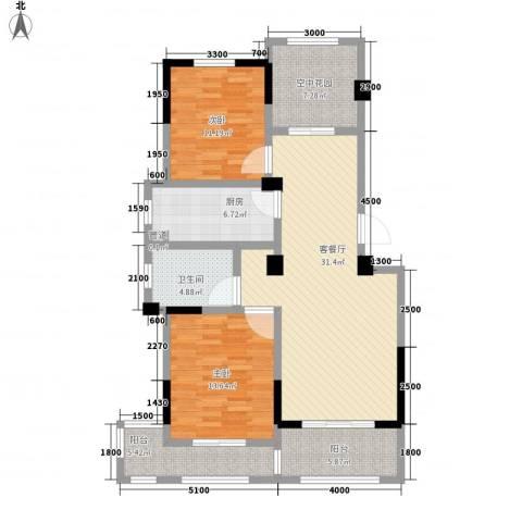 江南水岸2室1厅1卫1厨126.00㎡户型图