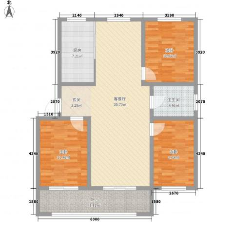 海港城3室1厅1卫1厨126.00㎡户型图