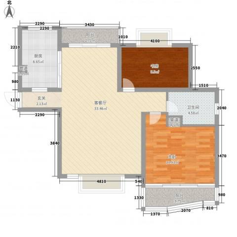 金枫苑阳光水岸2室1厅1卫1厨139.00㎡户型图