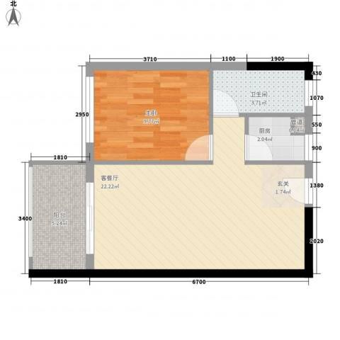 豪苑华庭1室1厅1卫1厨61.00㎡户型图