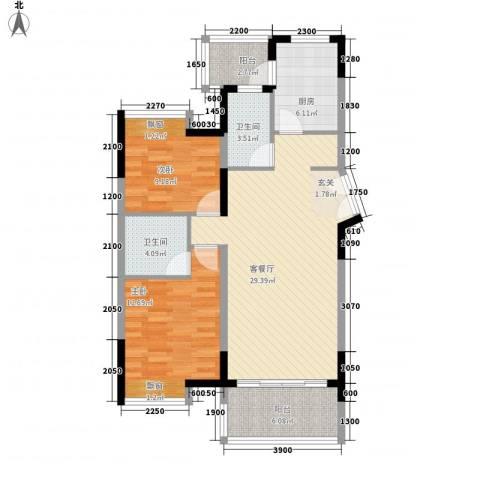 丰泰观山碧水2室1厅2卫1厨73.81㎡户型图
